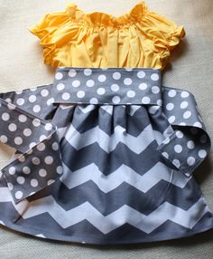 Yellow & Gray Chevron Dress Suzie Peasant Dress in Gold and Grey and White Chevron