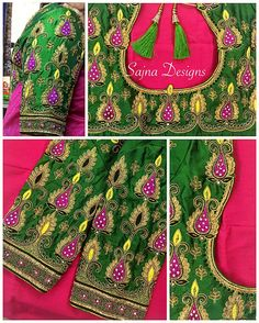 #weddingblouse #aariworkblouse #weddingsilkblouse #maggamworkblouses #indianwedding #bridalblouse #handembroiderywork #pinksaree #contrastcombineblouse #sajnabridalweardesigner #sajnadesigns #silksareeblouse Call/message us at +919094871467