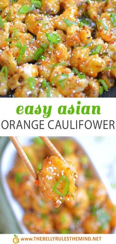 Asian Orange Cauliflower is easily a vegan twist on the popular Asian Orange Chicken from Panda Express. The cauliflower is air fried and tossed in a delicious sweet and spicy orange sauce. This light version of the popular meal will have your family happily eating their vegetables. #takeout #asianfood #vegandinner #vegetariandinner Easy Vegan Dinner, Vegan Dinner Recipes, Vegan Dinners, Vegan Recipes Easy, Asian Recipes, Yummy Recipes, Whole Food Recipes, Vegetarian Recipes, Yummy Food