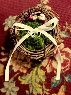 birds nest ring bearer pillow