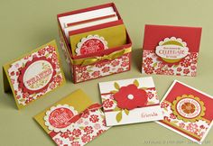 "Stampin' Up  Scallop edge box with 3""x3"" mini cards  By:Chiaki Haverstick"