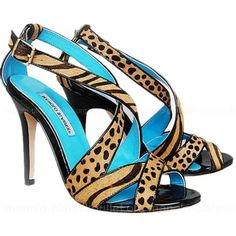 Manolo Blahnik Sandal Cross 7520 In Leopard Blue