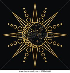 Sun and moon logo. Astronomical icon. Astrological symbol. Black and gold lines art isolated. Tattoo design. Alchemy sign. Vector illustration.