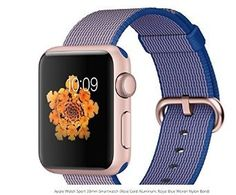 Apple Watch MMF42LLA Sport 38mm Smartwatch Rose Gold Aluminum Royal Blue Woven Nylon Band