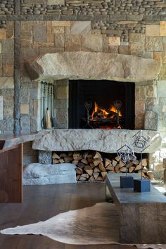 Rustic Fireplaces, Home Fireplace, Fireplace Design, Kitchen Fireplaces, Stone Fireplaces, Hearth Stone, Stone Masonry, Custom Home Designs, Custom Homes