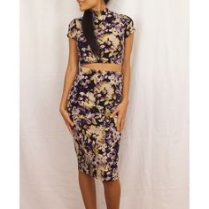 Floral print two piece Beautiful 2 piece floral print dress with pencil skirt Dresses