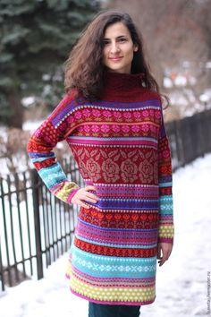 Купить Красное вязаное платье - ярко-красный, красное платье, вязаное платье женское