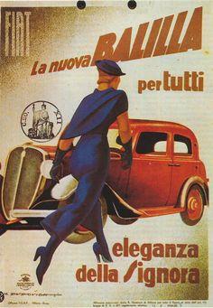 marcello dudovich, fiat. la nuova balilla, 1934