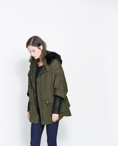 FAUX LEATHER COMBINATION PARKA from Zara