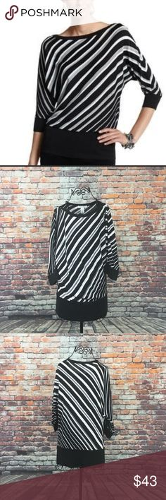 Black house white market sweater women's size L New with tags Black house white market tunic sweater women's size Large   Color black gay and metallic silver stripes  Sleeveless lightweight  Striped  Ribbed trim at Neckline, cuffs and hem  100% Rayon  Nonsmoking Home  Perfect condition  See photos for measurements!! (E) White House Black Market Sweaters Crew & Scoop Necks