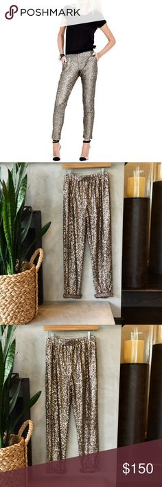 Lovers and Friends Always Sequin Pants Lovers and Friends Always Sequin Pants. Worn once to an event. Excellent condition. Bronze color. Relaxed fit. Elastic waist, mid rise. Straight leg. Worn by Kylie Jenner Lovers + Friends Pants