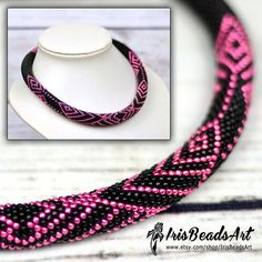 Black bead necklace elegant necklace for sister black pink necklace geometric necklace for girlfriend gift idea bead crochet necklace gift