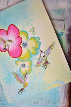 Cute flora + hummingbird painting