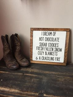 Rustic Sign, Wood Framed Sign,  Hot Chocolate - Snow - Cozy Blankets - Rustic Home Decor - Farmhouse Decor Handmade Fire by TheRusticShed1 on Etsy https://www.etsy.com/listing/478742020/rustic-sign-wood-framed-sign-hot