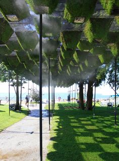 Matthew Soules Architecture (MSA) have designed Vermilion Sands, a living canopy made up of 260 pyramidal forms that have been hydro-seeded and grown in a nursery before being hung from a tensile grid