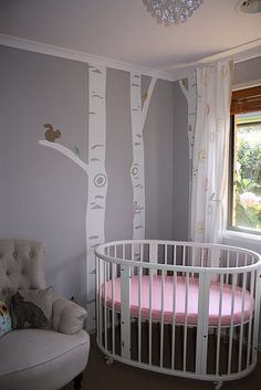 Stokke Sleppi Cot in a pretty grey room with a lovely forest decal - I have some fabric that matches this perfectly - must find image!