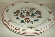 Christmas Plates 4 Classic Collectors Joy Of  Christmas House Bells Angels EUC