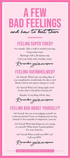 mental health Simple Positive Thinking Techniques to Help Conquer the Cynic in You A few bad feelings-- and how to beat them. Use this positive thinking chart for a boost of positivity whenever youre having a bad day at work! Stress Management, Mental Health Advocate, The Advocate, Les Sentiments, Bad Feeling, Having A Bad Day, Feeling Overwhelmed, Positive Mindset, Positive Quotes