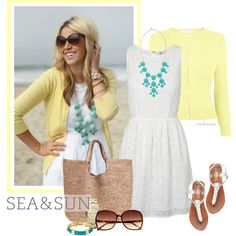 Soft yellow with turquoise and white...can you feel the sand between your toes?