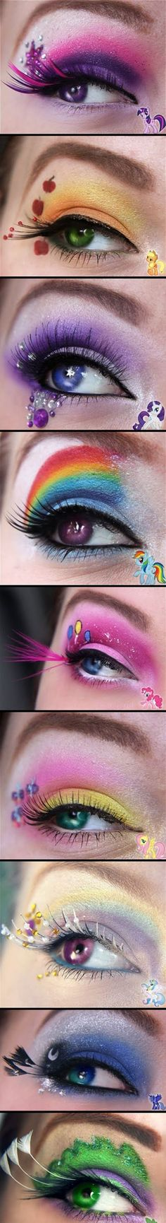 my little pony: friendship is magic inspired eye make-up. This makes me want to do the same with the Apocalypse ponies.