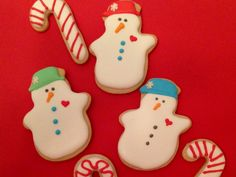 Happy Snowman sugar cookies!  These were made by my sister at Bay Beach Cookies!