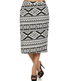 Love this Black & White Geometric Pencil Skirt on #zulily! #zulilyfinds