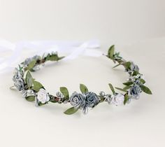 Silver and White Floral Crown flower crown by rosesandlemons