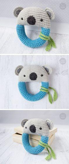 Koala Bear Rattle Pattern | Crochet Rattle Toy | Baby Rattle | Teether Pattern | Infant Rattle PDF Crochet Pattern