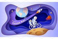 Father and son in space suits riding bike on the Moon. 3d Paper Art, Paper Artwork, 3 D, Paper Cut Design, Paper Illustration, 3d Max, Grafik Design, Paper Cards, Happy Fathers Day