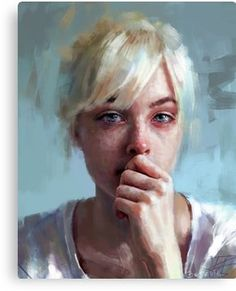crying portrait Canvas Print