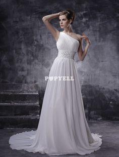#robe #mariage Robe de mariage trapèze blanche d'une bretelle en chiffon