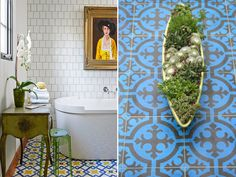 I'm crazy about the yellow accents in the bathroom