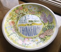 Thankful Hand painted ceramic platter by VibrantInspirations