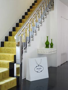 Mustard yellow stair runner in an NYC home designed by Jonathan Adler, via Yellow Stairs, Brown Carpet, Dark Carpet, Modern Carpet, Yellow Carpet, Beige Carpet, Cheap Carpet Runners, Carpet Stairs, Stairway Carpet