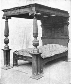 King's Bedstead in crimson and gold, now much faded and worn, which is said to have cost £8,000. These are still in the room once occupied by the king.  Read more: http://chestofbooks.com/home-improvement/furniture/How-To-Collect-Old-Furniture/Chapter-II-Jacobean-Furniture.html#.VUAD9Fxv_Wo#ixzz3Ye2N9n29
