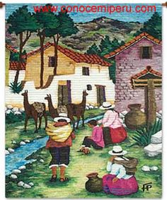 florero Thread Painting, Painting & Drawing, Peruvian Art, Autumn Scenery, Africa Art, Indigenous Art, Watercolor Sketch, Mexican Art, Tapestry Weaving