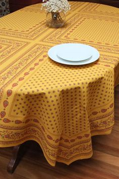French Country. See More. Traditional Provencal Tablecloth With Ochre And  Burgundy Tones