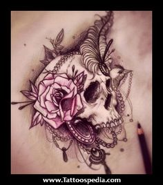 Black tat with pink... roses, feathers, lace, pearls...u would alter some of it but overall love the concept.
