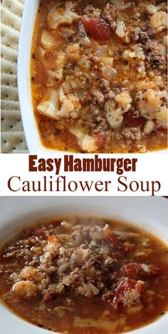 Easy Hamburger Cauliflower Soup - My Shop Ketogenic Recipes, Diet Recipes, Cooking Recipes, Healthy Recipes, Dessert Recipes, Healthy Soup, Healthy Steak, Hearty Soup Recipes, Low Carb Soup Recipes