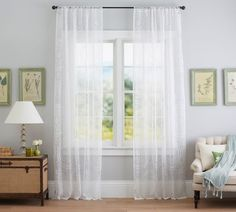 Shop Pottery Barn for custom curtains and drapes. You'll find window coverings made from linen, silk and tweed in a host of colors and styles. Neutral Curtains, White Sheer Curtains, Patterned Curtains, Living Room Drapes, Home Living Room, Outdoor Curtains, Drapes Curtains, Insulated Drapes, Chair And A Half