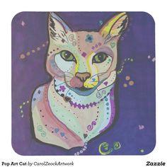 Pop Art Cat Square Paper Coaster