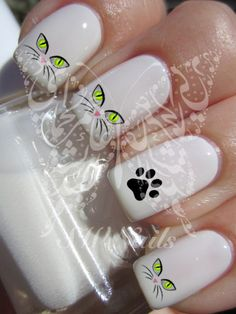Cat Nail Art Cat Eyes Paws Nail Water Decals Slides 20 water decals on a clear water transfer which can be applied over any color varnish on either your natural or false nail. Use: Paint nails in t Nail Art Mickey, Minnie Mouse Nail Art, Christmas Nail Art, Holiday Nails, Mickey Mouse, Christmas Tree, Snoopy Nails, Nail Water Decals, Thanksgiving Nail Art