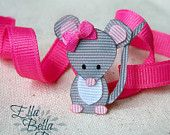 Woodland Mouse Ribbon Sculpture Hair Clip, Woodland Creatures Collection, Forest Animal Hair Bow