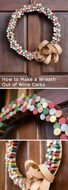 How to Make a #Wreath Out of Wine Corks  >> http://blog.diynetwork.com/tool-tips/2012/10/30/wine-cork-wreath-painted-with-metallics-and-glitter/?soc=pinterest-greatwreath