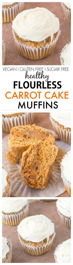 Healthy Flourless Carrot Cake Muffins which are tender on the outside and moist and fluffy on the inside- NO butter, oil, flour OR sugar- Even the frosting is healthy! {vegan, gluten free, sugar free recipe} ideas ideas food ideas for lunch Healthy Muffins, Healthy Sweets, Healthy Baking, Skinny Muffins, Vegetarian Sweets, Healthy Cookies, Vegan Sweets, Vegan Snacks, Healthy Desserts
