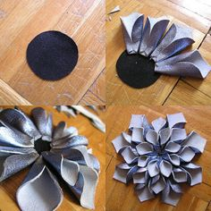 Fabric Flower: Add a loop behind & slide onto a belt for an instant flower belt . - Fabric Flower: Add a loop behind & slide onto a belt for an instant flower belt OR hot glue a pin to - Denim Flowers, Felt Flowers, Paper Flowers, Diy Leather Flowers, Fabric Crafts, Sewing Crafts, Sewing Projects, Flores Denim, Fabric Flower Tutorial