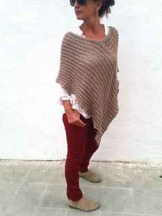 Casual outfit, camel knitwear.