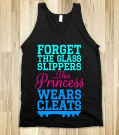 Forget the Glass Slippers This Princess Wears Cleats (Cyan Pink Blue Art) Tank Top - Princess Fashion - Skreened T-shirts, Organic Shirts, Hoodies, Kids Tees, Baby One-Pieces and Tote Bags