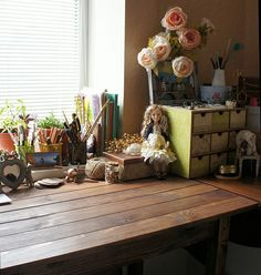 My lovely workspace where I create my vintage dolls