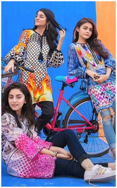 Presenting Gul Ahmed's YOLO collection- a range of un-stitched shirt pieces that scream fun, flirty and oh so chic. Pakistani Casual Wear, Pakistani Dress Design, Pakistani Outfits, Lengha Blouse Designs, New Kurti Designs, Trendy Dresses, Casual Dresses, Fashion Dresses, Shirt Style Kurti